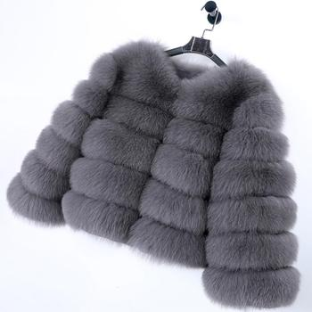 maomaokong 2020 New Winter Women Real Fox Fur Jacket Natural Fur Coat Female fox fur coat quality fur Free shipping Dark gray image