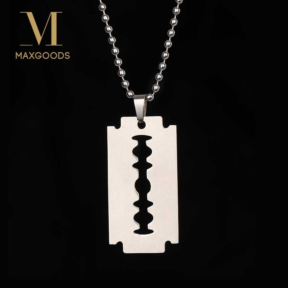 Fashion Stainless Steel Razor Blades Pendant Necklaces Men Jewelry Cool Steel Male Shaver Shape 2019 Hip Hop Necklace for Men