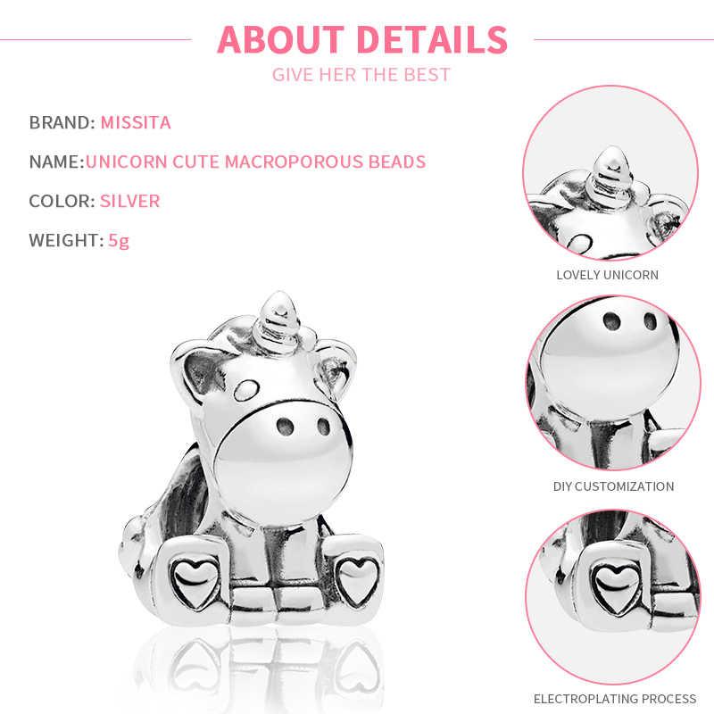 MISSITA חמוד Unicorn בעלי החיים חרוזים fit פנדורה מקורי קסם צמיד DIY תכשיטי נשים צמידי אביזרי מתנה