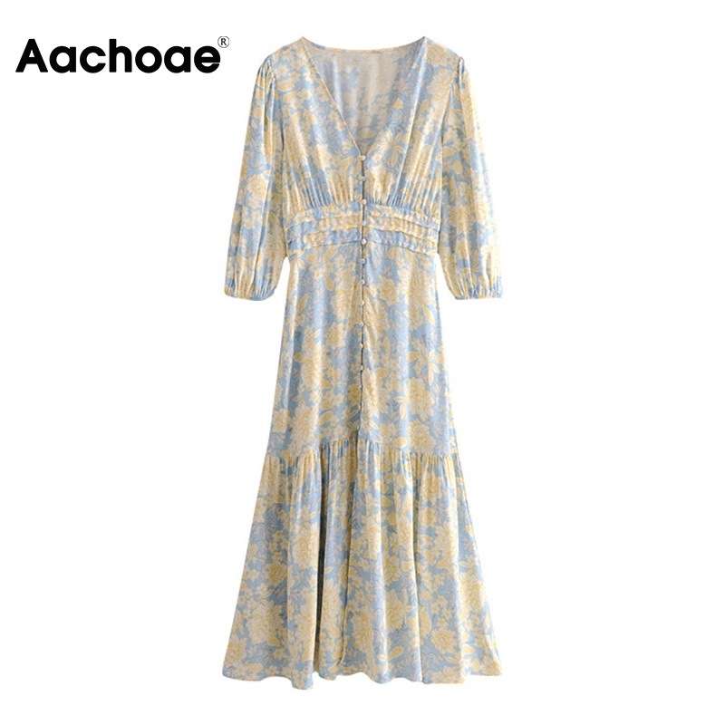 Aachoae Women Floral Print Dress V Neck Lantern Sleeve Vintage Long Dress Female Elastic Waist Holiday Pleated Dress Sundress