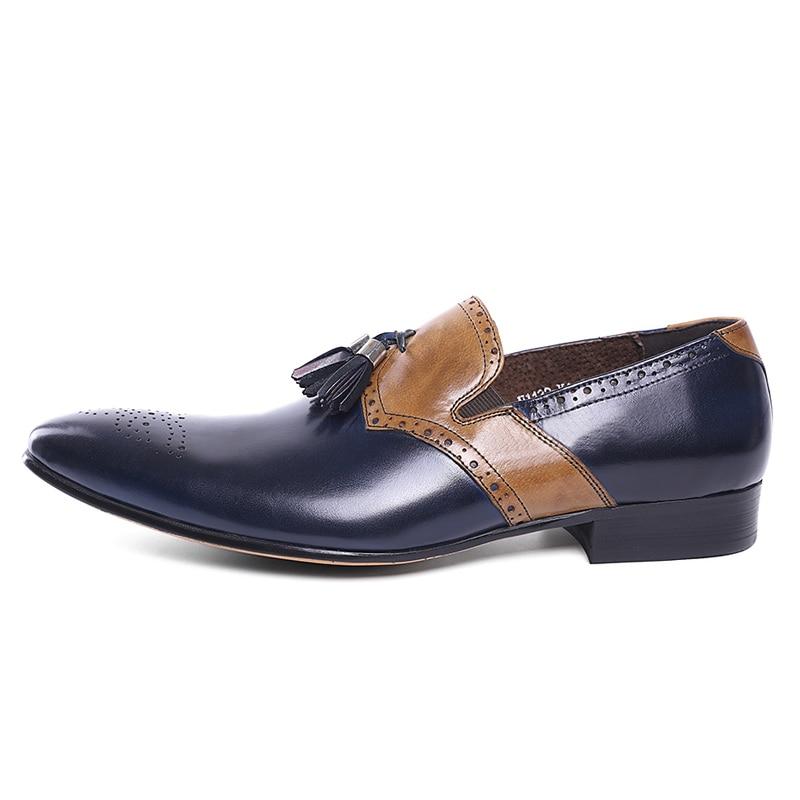 FELIX CHU ฤดูใบไม้ร่วงใหม่หนังผู้ชายอย่างเป็นทางการรองเท้าพู่ Pointed Toe งานแต่งงานสีฟ้ารองเท้าผู้ชายแบน-ใน รองเท้าทางการ จาก รองเท้า บน   3