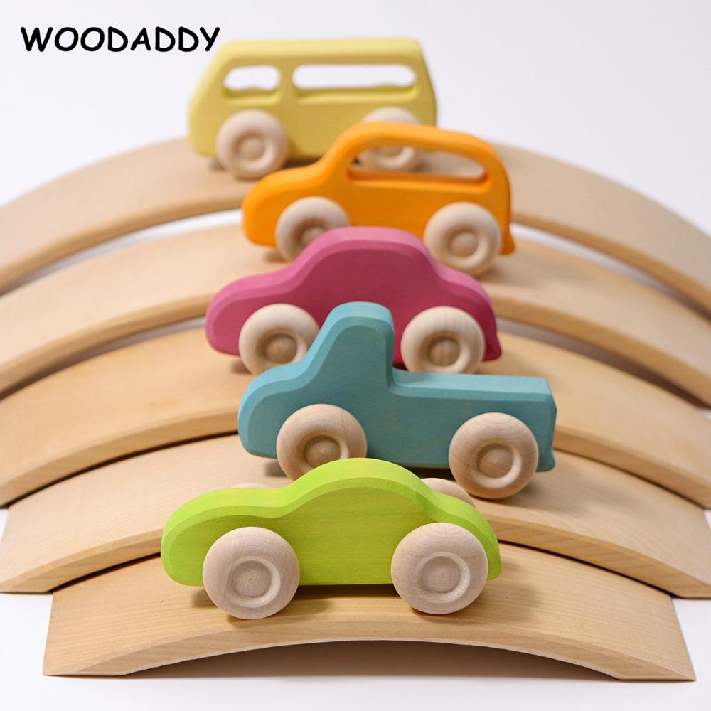 New Arrival Rainbow Car Curved Rainbow Bridge Wooden Toys For Kids Building Blocks Stack High Child Educational ToysDropshipping