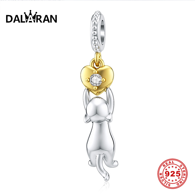 DALARAN  Silver Charm Fit Original Pandora Bracelet Beads 925 Sterling Silver Dangle Charms Heart CZ Cat Bead Women Jewelry
