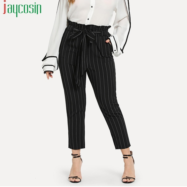 Women fat pants straight drawstring high waist striped print loose casual pants plus size running pants Ladies beach trousers