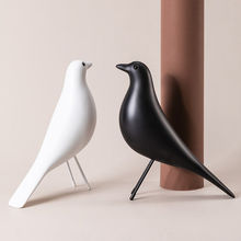 Pássaro artificial escultura decoração do escritório escultura decoração doméstico pássaro escultura preto criativo ornamento
