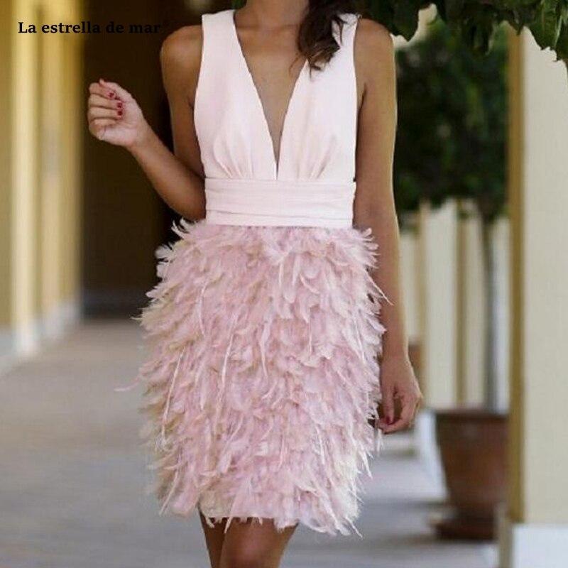 Vestidos De Coctel De Noche2019 New Satin Feather Sexy V Neck A Line Pink Cocktail Dresses Knee Length Prom  Gown Customization