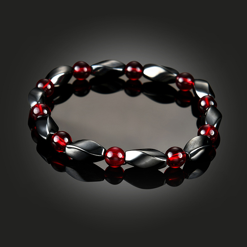 NJ Red Crystal Therapy Stone Woman Beaded Bracelets Nature Magnet Lodestone Round Bead & Bangles For Gift