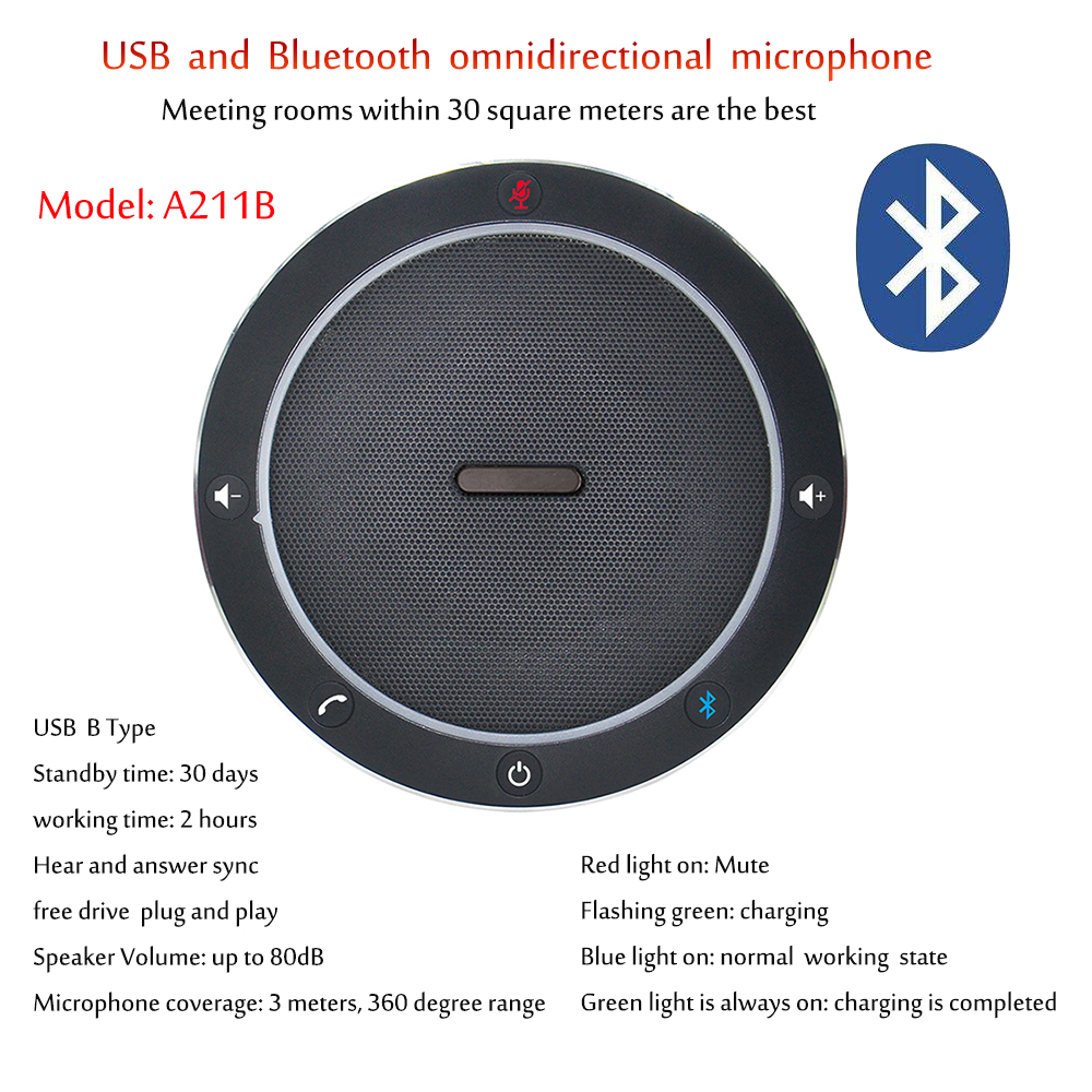 A211B Bluetooth Video Conference Microphone Speakerphone 8 Feet Audio Pickup Microphones Mic For Speaking Speech