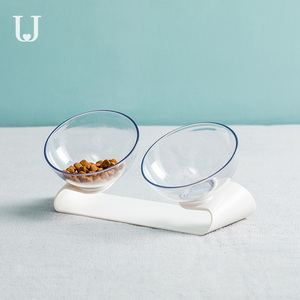 Image 3 - يوبين جوردان وجودي PE001 كلب القط الحيوانات الأليفة وعاء مزدوج شفاف إمالة تصميم مادة صحية من يوبين