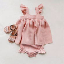 Baby Summer Clothing 2Pcs Baby Girl Outfits Kids Girls Linen Dress + Shorts Infant Clothing Newborn Baby Girl Clothes Sets