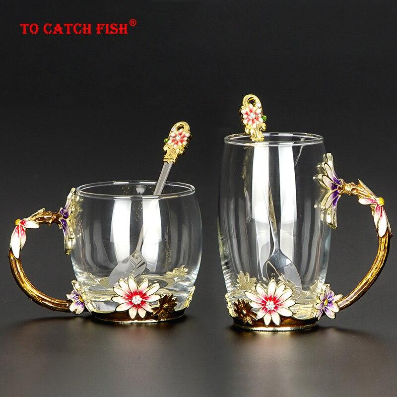 Caneca de vidro de cristal resistente ao calor criativa, caneca de vidro do esmalte, copo de café do grupo do chá da flor, drinkware do café do leite da água para o presente