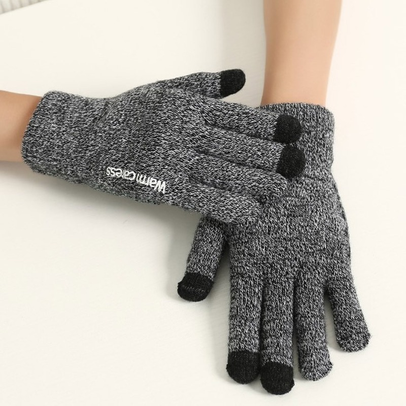 New Fashion Knit Gloves Unisex Autumn Winter Women Warm Caress Wool Anti-Skid Tap Screen Gloves Accessories Women Gifts