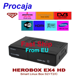 Procaja HEROBOX EX4 HD Enigma2 Support DVB-S2/T2/C Satellite Receiver Linux System Support CCCAM Youtube IPTV New version of Sol(China)