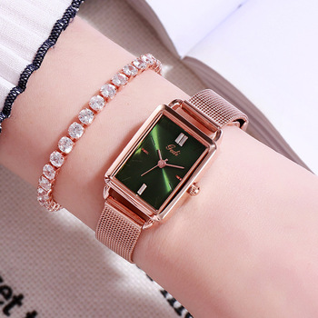 цена на Watches Women Luxury Brand Mesh Belt Elegant Retro Rectangular Quartz Water Resistant Wrist Watches for Women Relogio Feminino