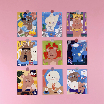 Cute Cartoon Rainbow Bear Postcard Style Decorative Sticker Wall Waterproof Photo Decorative Stationery Sticker Greeting Card sweet bird cage pattern removeable waterproof decorative wall sticker