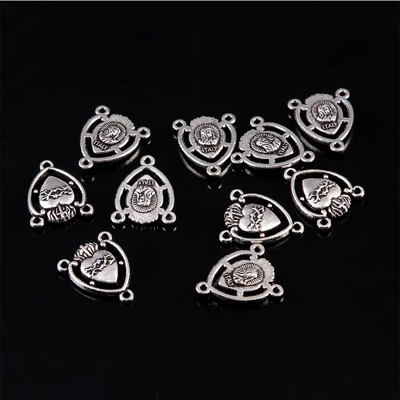 10 pieces/Christian Acred Sacred Heart Medal, Mexico Milagro Flame Heart-shaped Rosary Center Three Hole Maria Medal