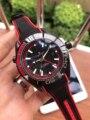Relojes de Cuero de lona de zafiro profesional de acero inoxidable Azul Rojo y negro a prueba de agua GMT mecánico automático de marca de lujo para hombre