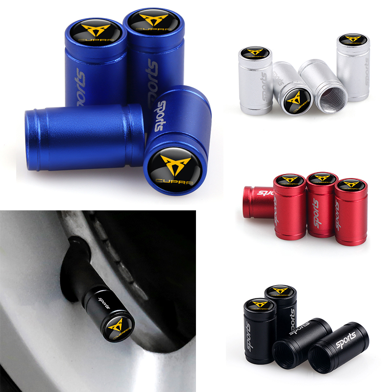 4pcs New Scrub Sport Emblem Car Wheel Tire Valve Tyre Caps Case For Seat Cupra Leon 2 FR+ Ibiza Altea Belt Racing Accessories