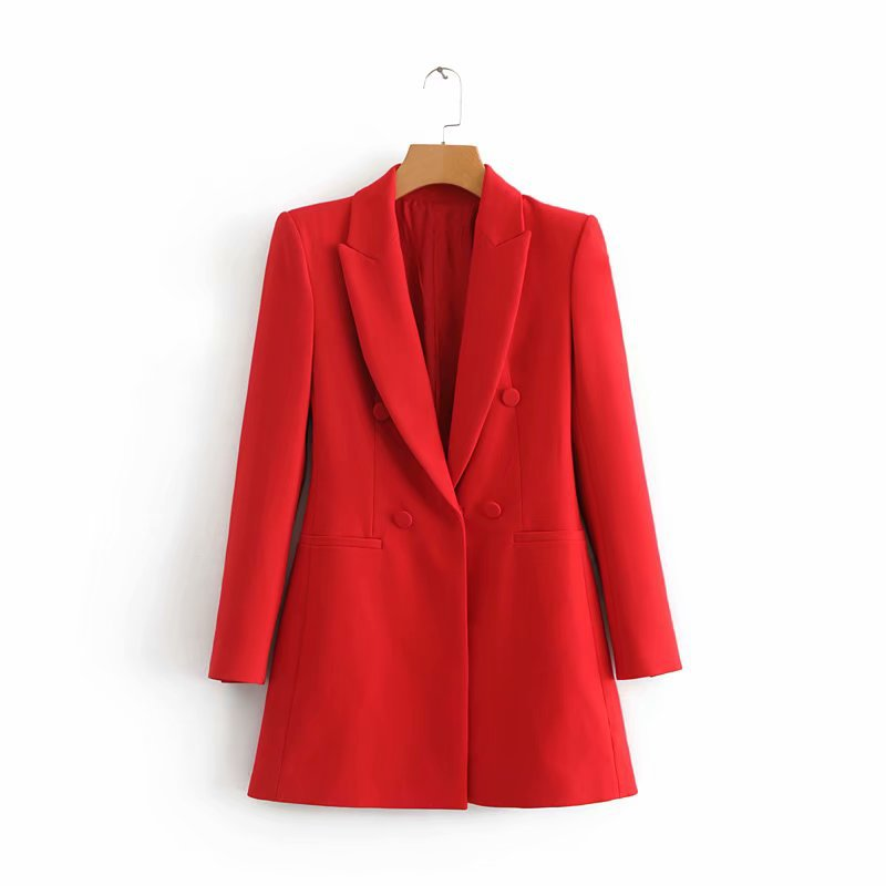 Women Shrug Long Blazers Long Sleeve Notched Collar Solid Red Black Outerwear Office Lady Work Wear Basic Chic Tops