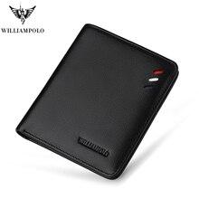 WILLIAMPOLO 2017 Leather Designer Genuine Leather Men Slim Thin Mini Wallet Male Small Purse Credit Card Dollar Price POLO250