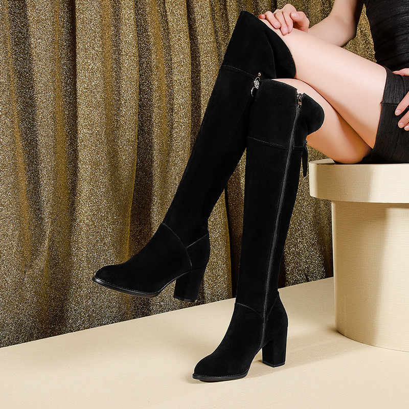 Asumer 2020 Mới Da Lộn Giày Da Nữ Dày Giày Cao Gót Trên Đầu Gối Giày Khóa Kéo Nữ Thu Đông Giày Lớn size 34-42