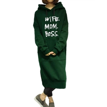 Wife Mom Boss Letters Print Hoodies For Women Long One-Piece Sweatshirt Femmes Kawaii Hoodies Women Tops Cute Funny new fashion faith letters print long sleeve round neck hoodies for women femmes cotton tops women s sweatshirt funny plus size