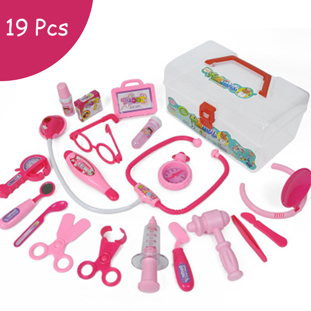 19 Pieces/Set Children Pretend Play Doctor Nurse Toy Set Portable Suitcase Medical Kit Kids Educational Role Play Classic Toys