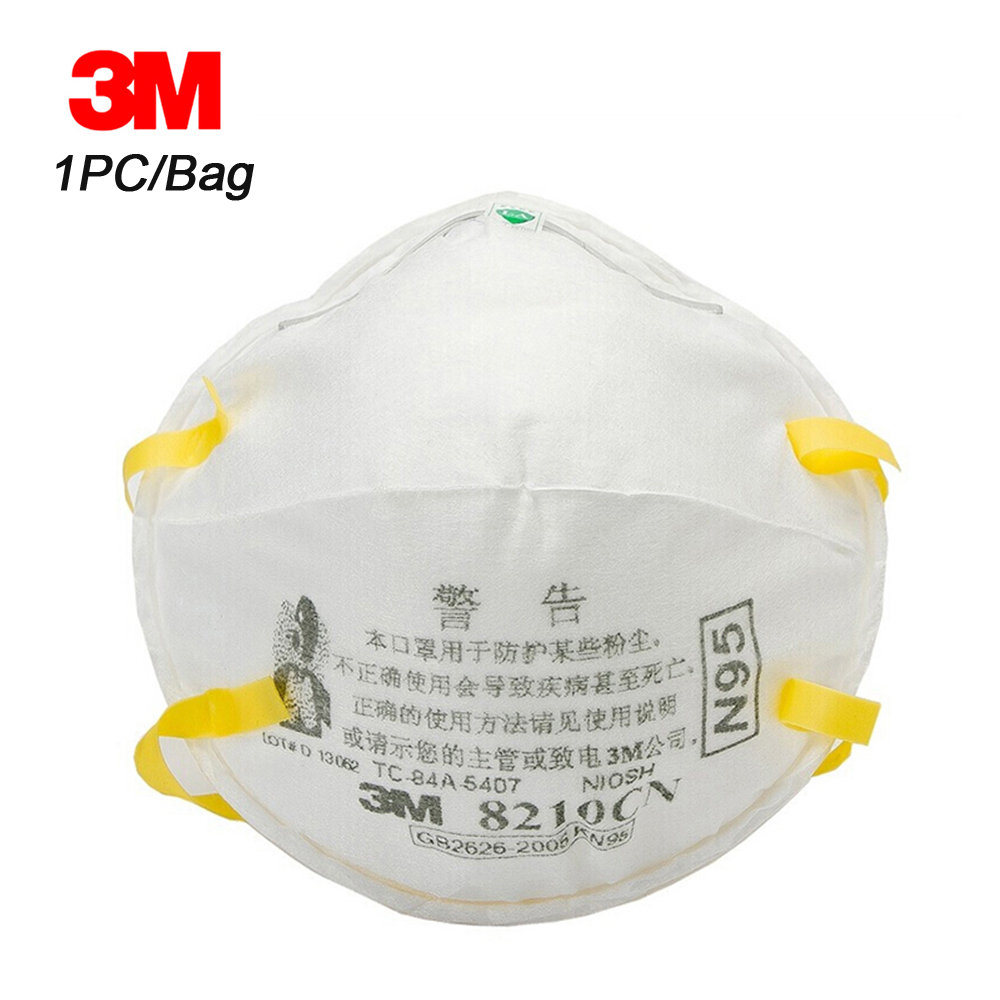 3M 8210 1pc Face Mask Particulate Respirator Protective Masks Safety Mask PM2.5 Smog Haze Dustproof Mouth Mask For Outdoor