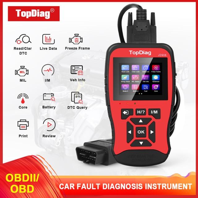 Автомобильный сканер двигателя TopDiag OBD2 JD906, считыватель кодов автомобиля, диагностический инструмент, очистка кода неисправности, проверка смога, батарея, тест TFT цветной экран
