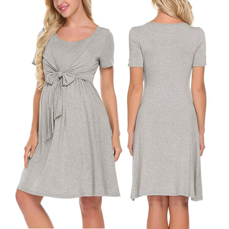 2019 Fashion Women 39 s Dress O Neck Pleated Lace Up Loose Casual Dresses Midi Dress Short Sleeve Maternity Female Dress in Dresses from Women 39 s Clothing