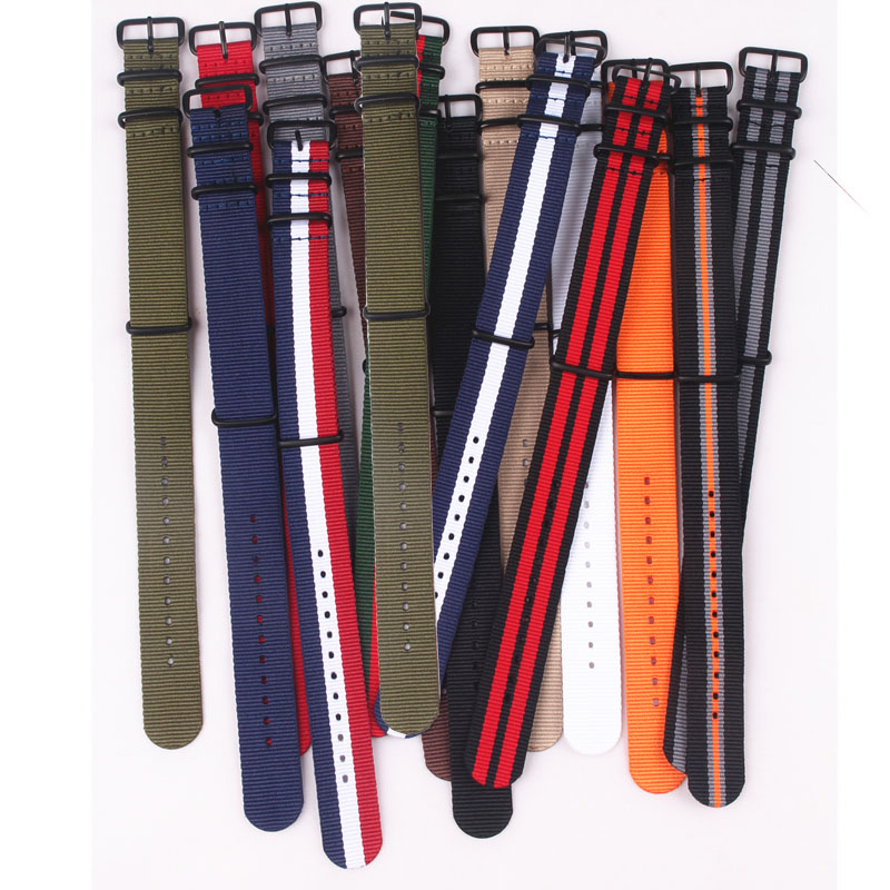 Buy 2 Get 10% OFF)  Nato Solid Black Buckle Stripe Orange Wholesale 18mm 20mm 22mm 24mm Watchbands Watches Strap Band Belts