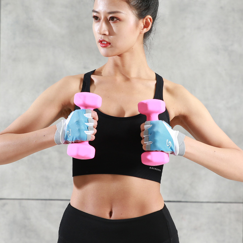 running - Sports gloves female fitness half finger anti-cocoon protective gloves wrist training gloves horizontal bar anti-off hand wrist