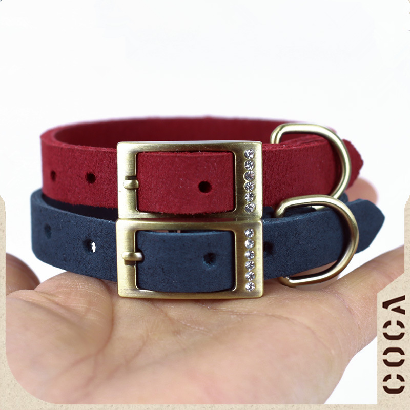 Import Soft Dull Polish Full-grain Leather Small Dogs Cat Neck Band Puppy Genuine Leather Man-made Diamond Collar Cat Collar Dia