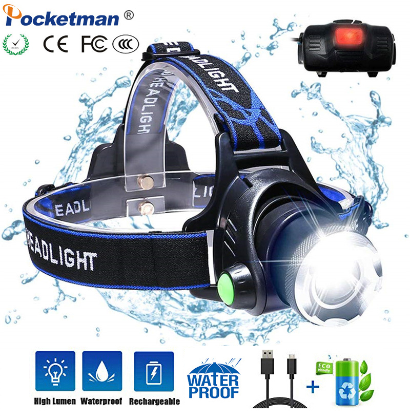 LED Head Torches T6/L2 Headlight 6000lumens Zoomable 3 Modes USB Rechargeable Head Lamp Waterproof 18650 Battery For Camping