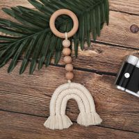 Baby Wooden Teether Natural Wood Rattle Chewable Play Gym Stroller Toy Nursing Pendant Charms Teething Toys GXMB
