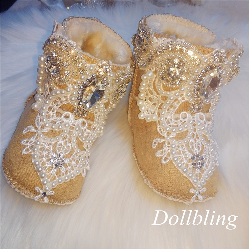 2019 Custom Handmade Baby Snow Boots Rhinestone Toddler Shoes Baby Girl Low Boots Fashion Small Fresh