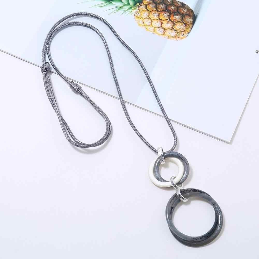 Boho jóias rodada acrílico mulheres colar gótico colar Pingente de cadeia Longa corda colar collier collares de moda 2019 vsco menina