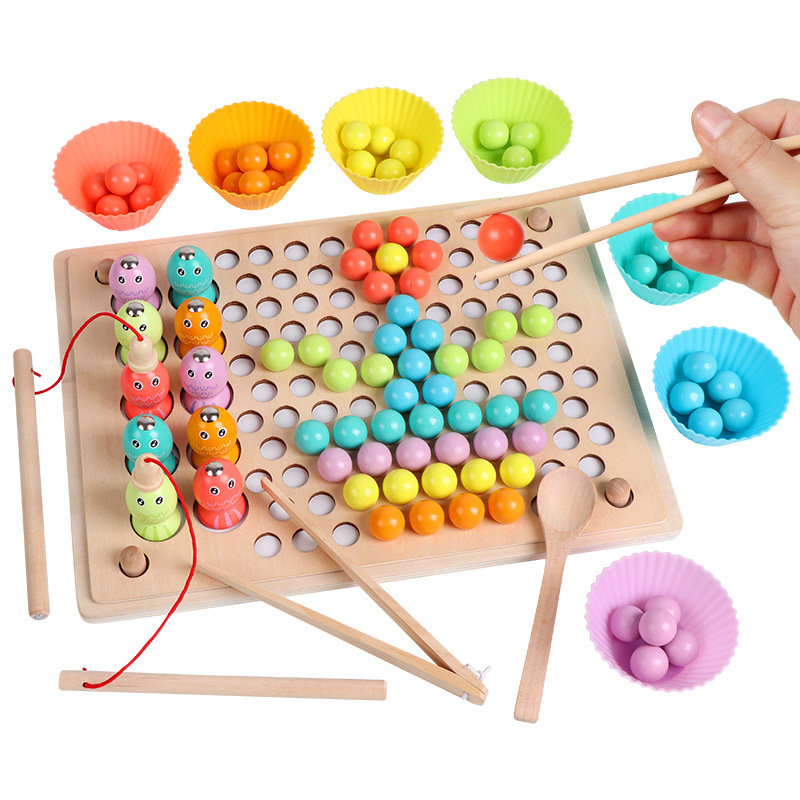 Montessori Wooden Toy Beads Game Hands Brain Training Clip Ball Jigsaw Puzzle Fishing Memory Chess Early Educational Toy For Kid
