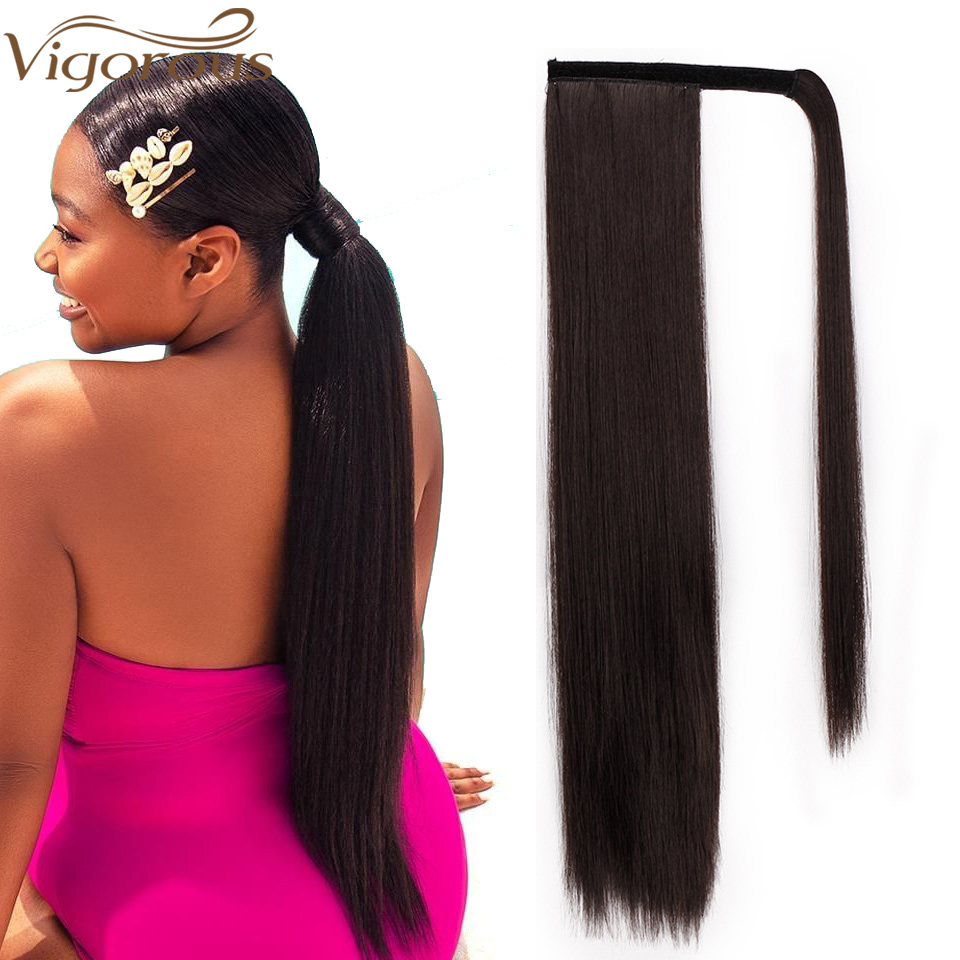 Vigorous 24'' Long Silky Straight Ponytails Clip In Synthetic Pony Tail Heat Resistant Fake Hair Extension Wrap Round Hairpiece