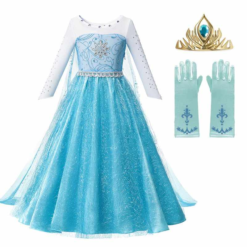 MUABABY Girls Elsa Princess Dress Up With Train Children Beading Long Sleeve Snow Queen Halloween Carnival Party Costume Frocks