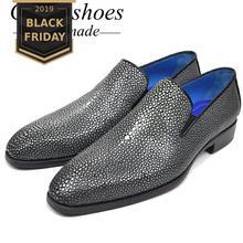 GOSTINSHOES/роскошные мужские официальные туфли ручной работы в итальянском стиле; модельные туфли с острым носком без застежки из кожи ската; оксфорды; SCF22