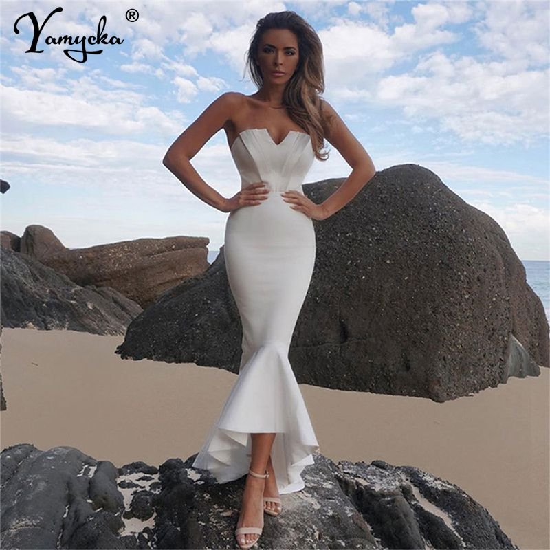 Mermaid Sexy off shoulder Tube top white Dress bodycon Backless Night club Beach Maxi Dress Party Long Women elegant Dress 2020