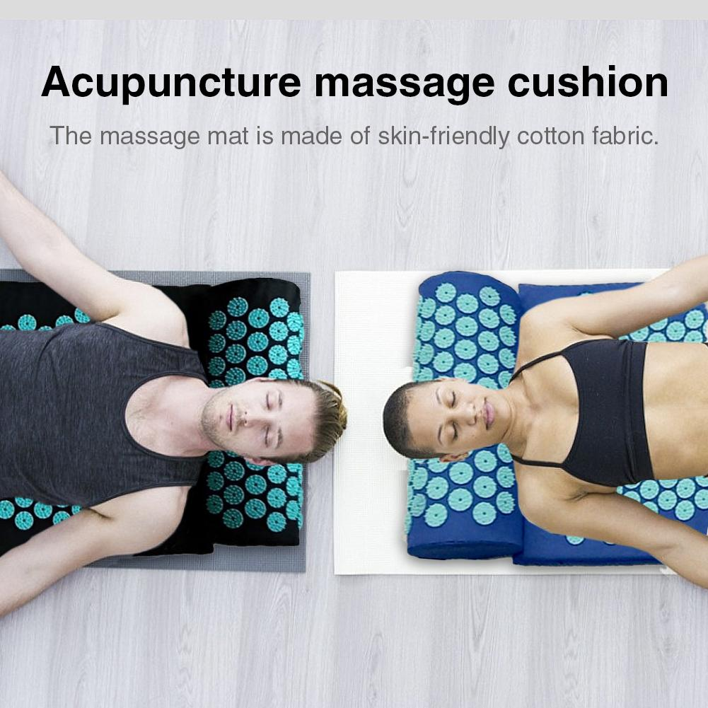 Acupressure Massage Mat including Pillow Sets to Relieve Stress and Back Pain with Spike 7