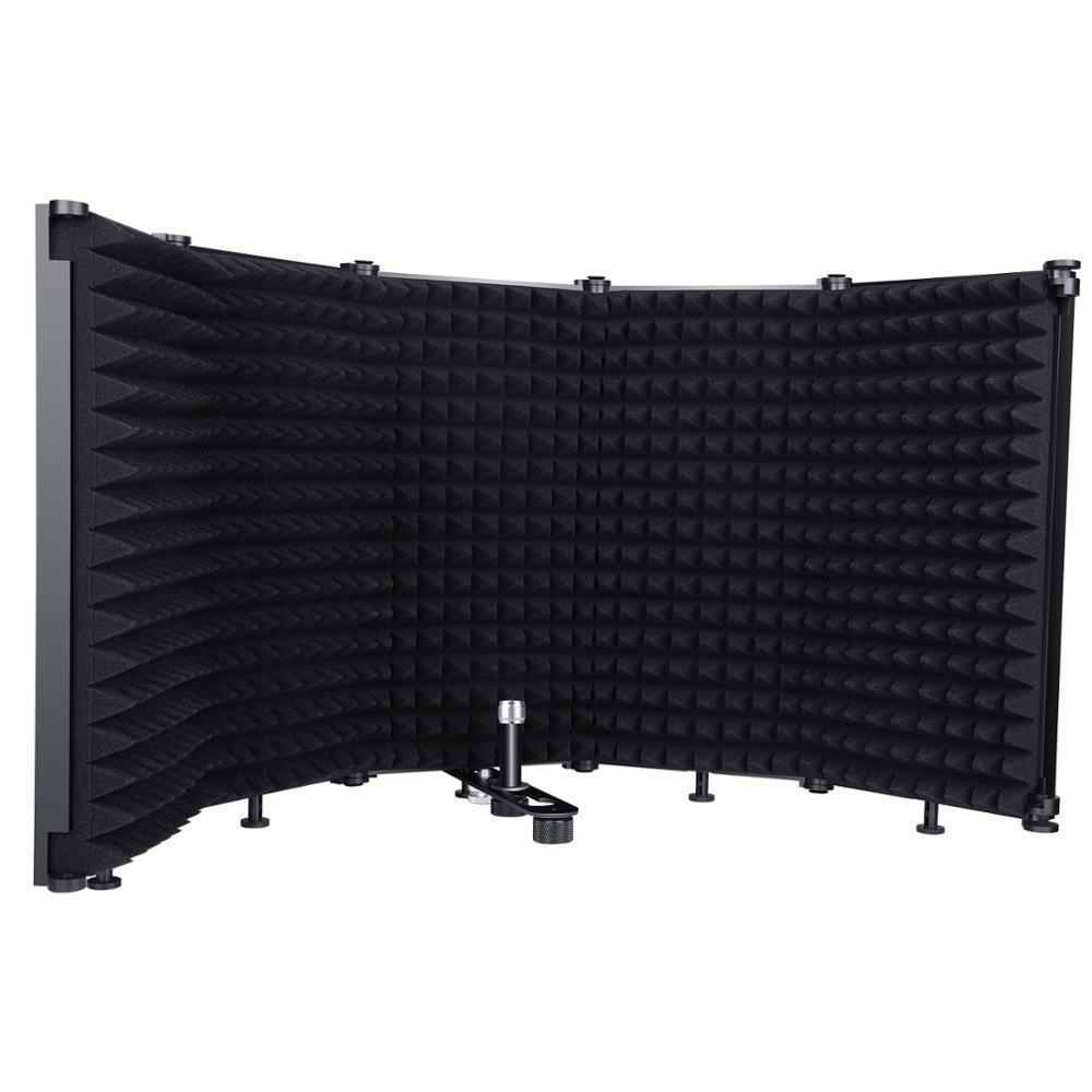 Изоляционный щит для микрофона, складной 5-панельный ветрозащитный экран с резьбой 3/8 и 5/8 дюйма, высокоплотная поглощающая пена для студийн...