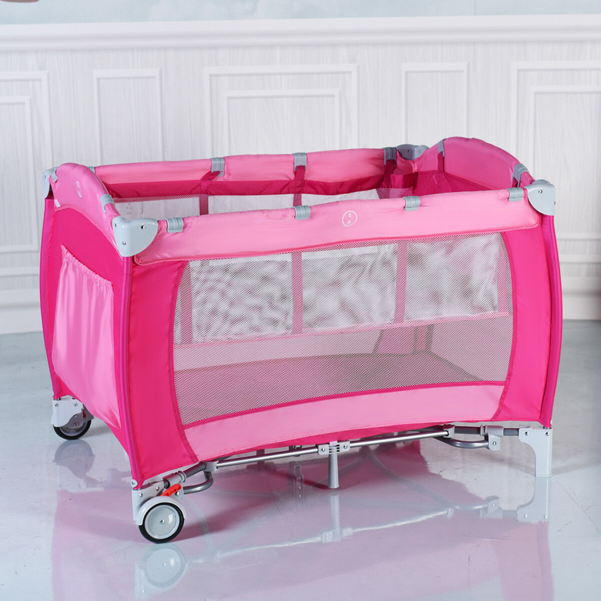 Foldable Baby Crib Playpen Travel Infant Bassinet Bed Mosquito Net W/ Bag