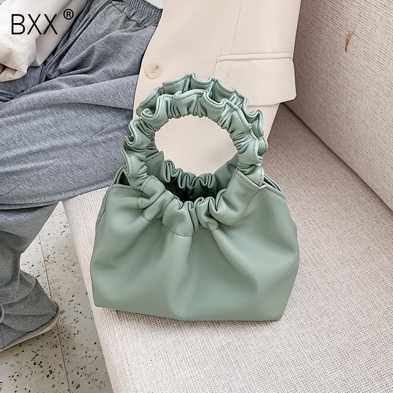 [BXX] Women Solid Color PU Leather Crossbody Bags For Women 2020 Spring Simple Female Shoulder Messenger Bag Lady Handbags HL340