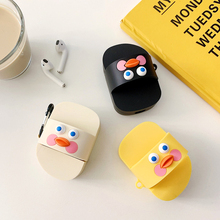 Cute Cartoon Duck Earphone Case For Apple Airpods Silicone Headphone Case For Airpods 2 1 Yellow Duck Slippers Protection Cover