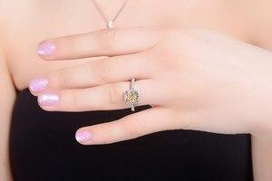 Image 3 - 925 ayar gümüş FL pırlanta yüzük kadınlar için 2 Carats pençe elmas taş Bizuteria nişan katı S925 takı yüzük