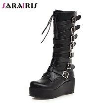 SARAIRIS New Winter Plus Size 33-46 Cool Black Decorating mid-calf Boots Women 2019 Platform Buckle Wedges Shoes Woman