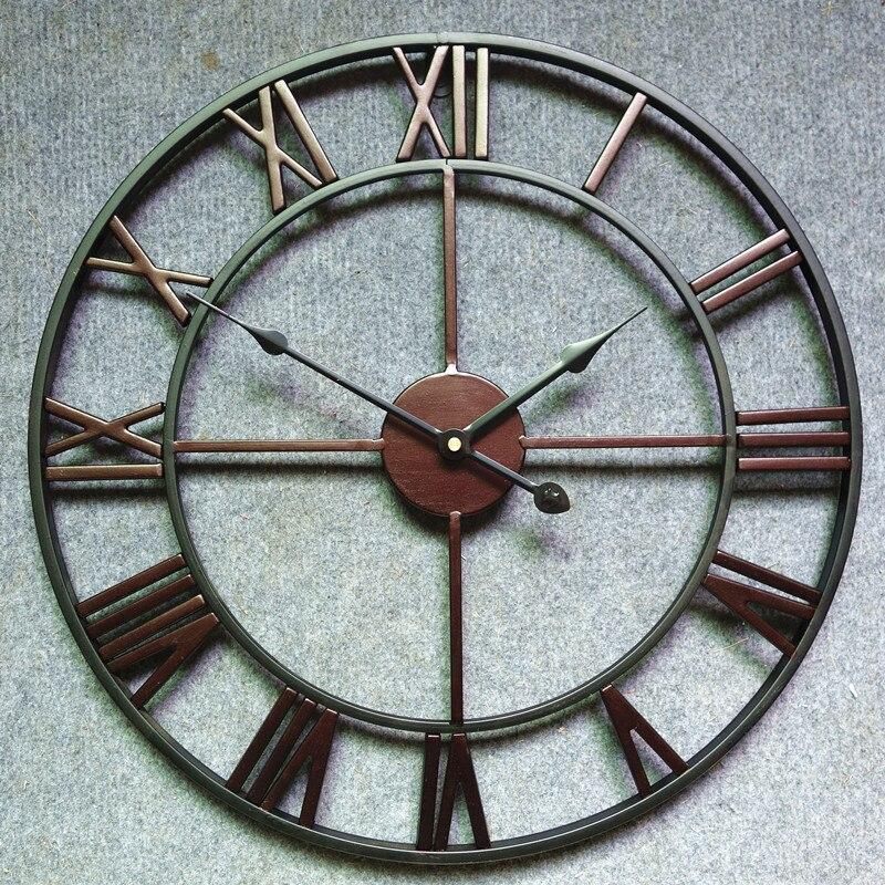 60cm Creative Circular Retro Roman Wall Clock Silent Metal Big Clocks Wall Modern Vintage Wall Clock On The Wall Decoration Home